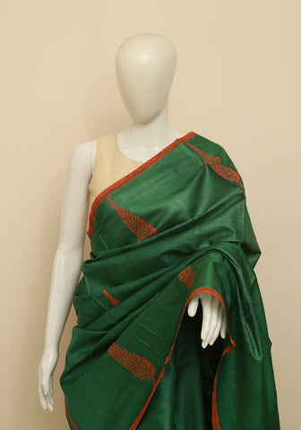 Block Printed Tussar Silk Saree Design 21
