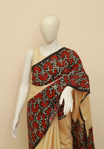 Block Printed Tussar Silk Saree Design 22