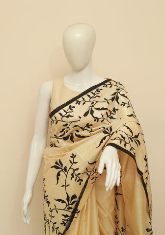 Block Printed Tussar Silk Saree Design 23