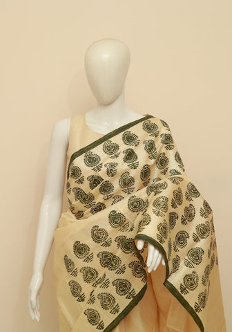 Block Printed Tussar Silk Saree Design 24