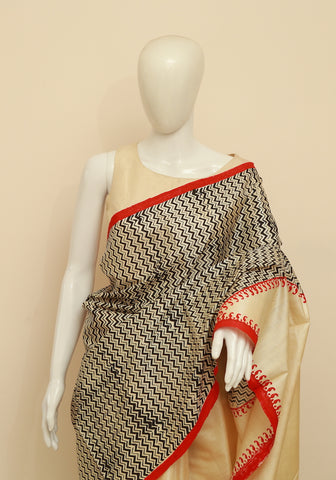 Block Printed Tussar Silk Saree Design 25
