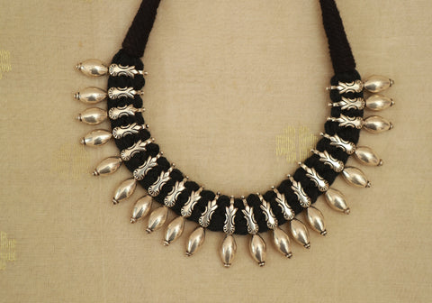 Sterling Silver Black Thread Necklace
