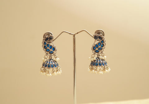 Sterling Silver Jhumkas with Blue Stones