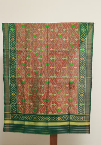 Dark Green and Greenish Brown Ikat Patola Dupatta