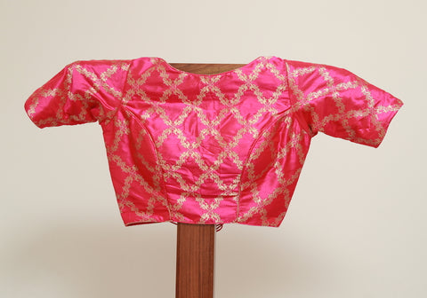 Pink Benarasi Blouse with Open Back