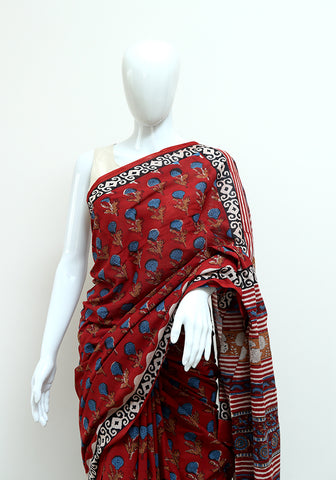 Block Printed Mul Cotton Saree Design 46