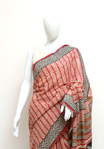 Block Printed Mul Cotton Saree Design 49