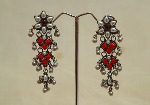 Sterling Silver Earrings  With Stones Design 91