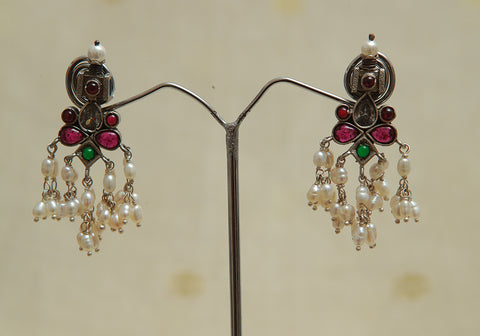 Sterling Silver Earrings  With Stones Design 93