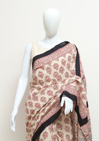 Block Printed Mul Cotton Saree Design 54