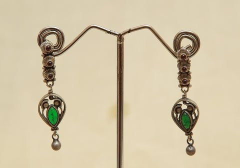 Sterling Silver Earrings  With Stones Design 115