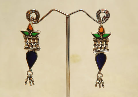 Sterling Silver Earrings  With Stones Design 125