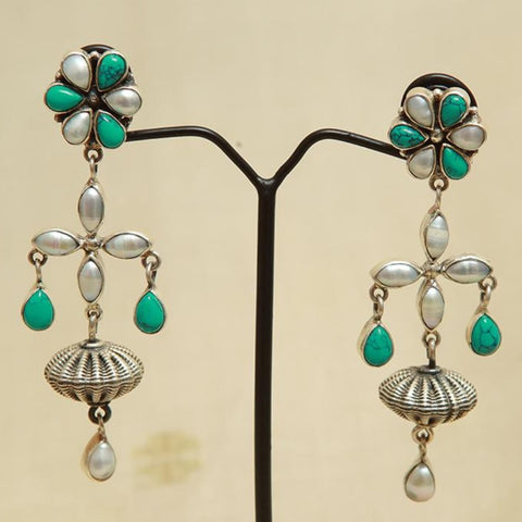 Sterling Silver Earrings  With Stones Design 119