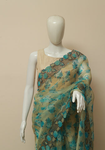 White and blue semi organza cut work saree