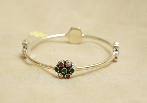 Silver Bangle with Stones Design 19