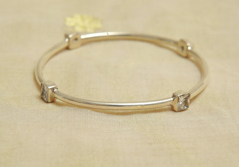 Silver Bangle with Stones Design 20