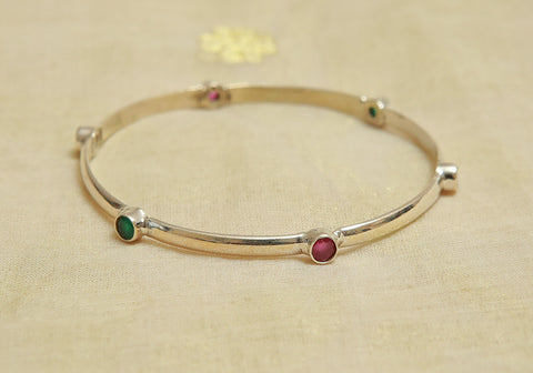 Silver Bangle with Stones Design 21