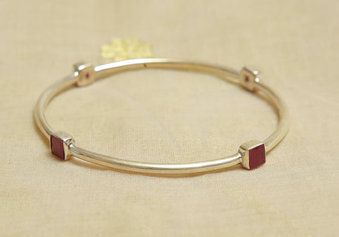 Silver Bangle with Stones Design 22