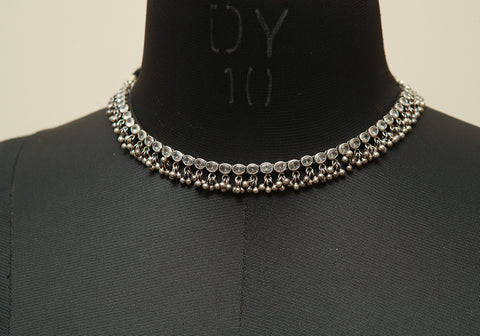 Sterling Silver Necklace with Stones Design  12