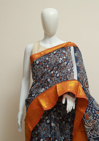 Sungudi with Printed Kalamkari Saree Design 1
