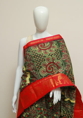 Sungudi with Printed Kalamkari Saree Design 2