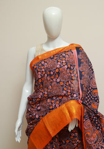 Sungudi with Printed Kalamkari Saree Design 6