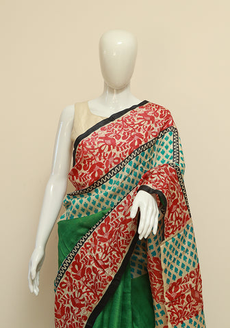 Block Printed Tussar Silk Saree Design 13