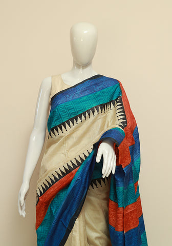 Block Printed Tussar Silk Saree Design 15