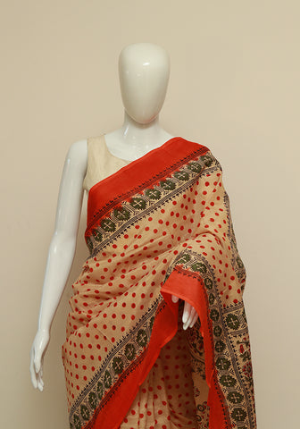 Block Printed Khadi Silk Saree Design 4
