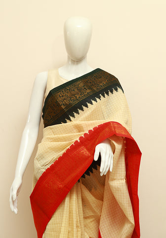 Off-white Sungudi Saree Design 1