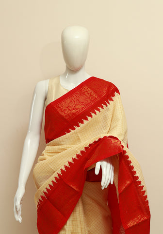 Off-white Sungudi Saree Design 7
