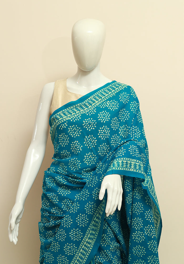 bb25bb22435696 Block Printed Mul Cotton Saree Design 69