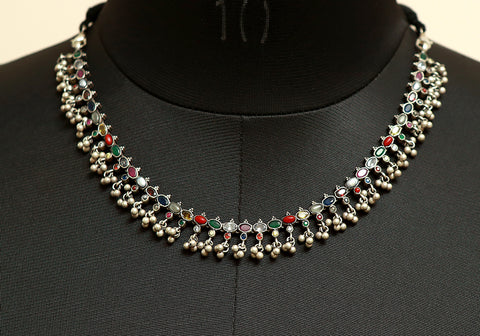 Navaratna Silver Necklace Design 1