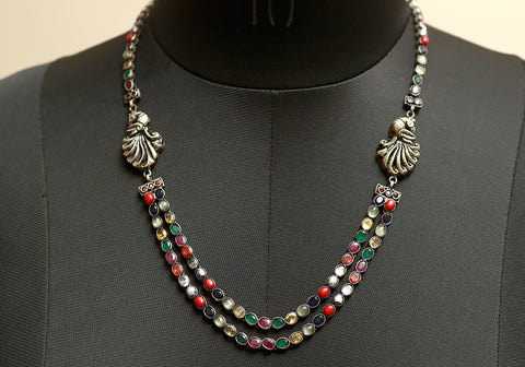 Navaratna Silver Necklace Design 2