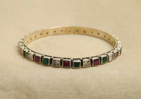 Silver Bangle with Stones Design 3