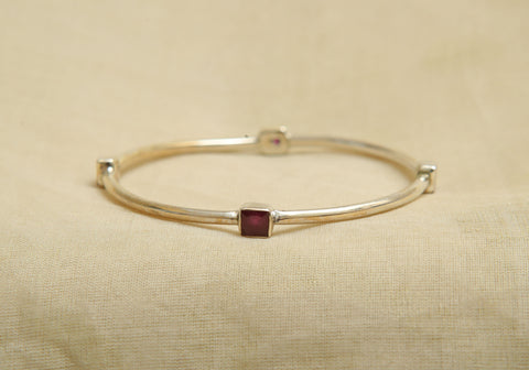 Silver Bangle with Stones Design 6