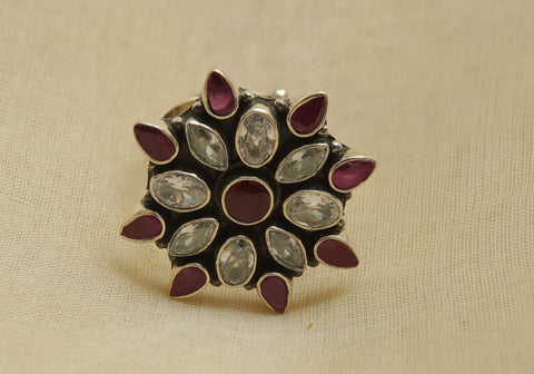 Adjustable Silver Ring with Stones Design 21