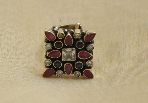 Adjustable Silver Ring with Stones Design 23
