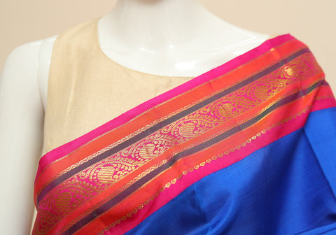 Embroidered Tussar Silk Saree Design 1