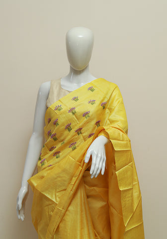 Embroidered Tussar Silk Saree Design 2