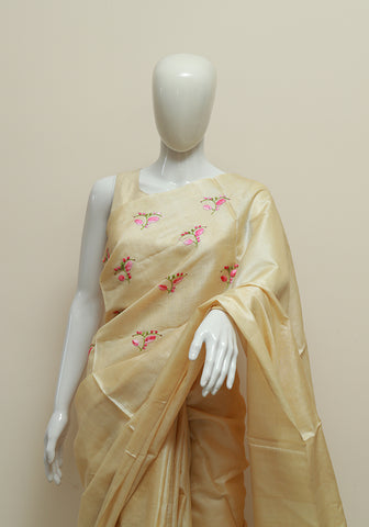 Embroidered Tussar Silk Saree Design 3