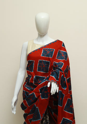 Red and Blue Shibori Modal Silk Saree with Ajrakh