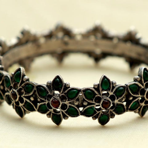 Silver Bangle with Green Stones Design 14