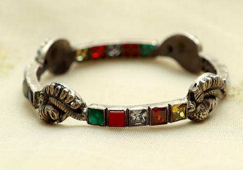 Silver Navaratna Bangle Design 12