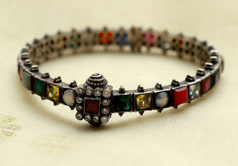 Silver Navaratna Bangle Design 11