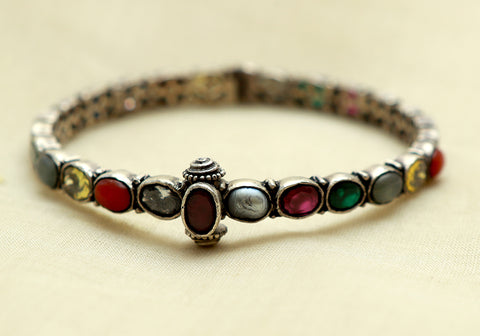 Silver Navaratna Bangle Design 10