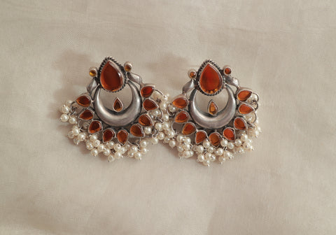 Sterling Silver Earrings with Stones Design 1