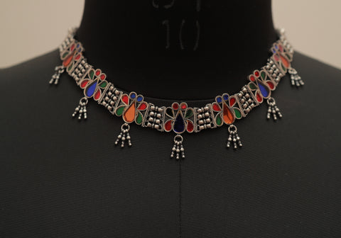 Sterling Silver Tribal Glass Necklace