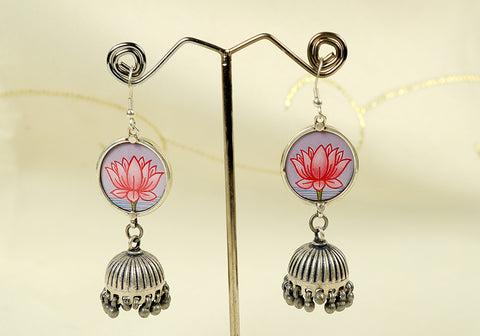 Silver earrings with lotus painting design 13