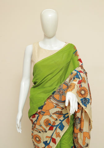Assam Silk Printed Kalamkari Saree Design 45